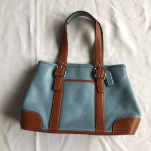 Coach Blue Hampton Tote Brown Leather